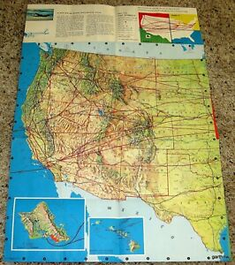Details about UNITED AIRLINES 1956 AIR FLIGHT SYSTEM MAP * UNITED STATES &  HAWAII * MAINLINER