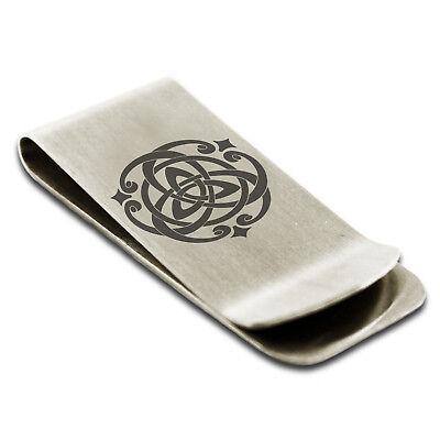 Stainless Steel Celtic Quaternary Knot Rune Symbol Engraved Money Clip Credit Card Holder