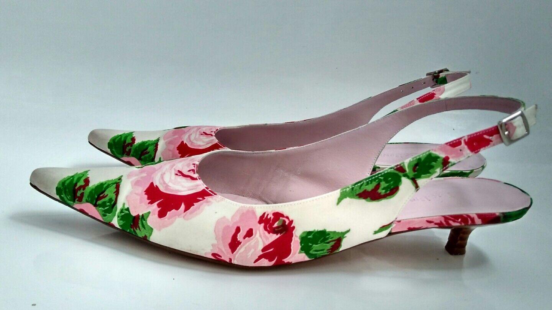 Diseñador LK Bennett Slingback zapatos MBC -- Tela Floral & Leather