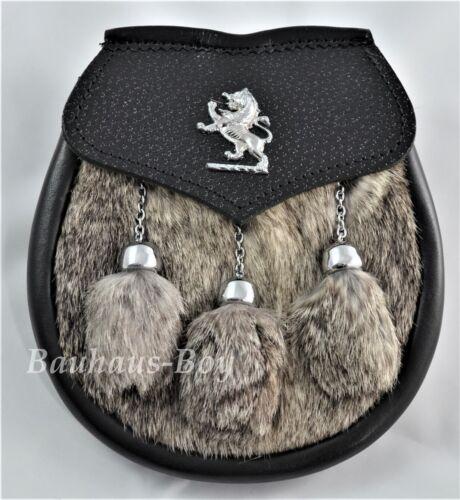 KILT SEMI-DRESS SPORRAN RAMPANT LION CREST GREY RABBIT /& LEATHER SCOTTISH KILTS