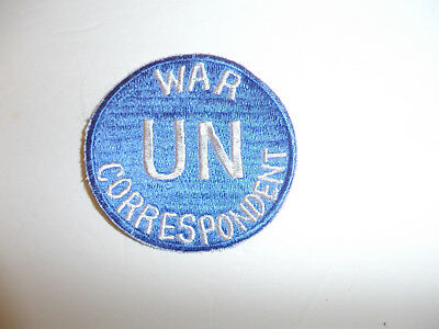UNITED NATIONS U.N UN WAR CORRESPONDENT CLOTH PATCH BADGE KOREA BLUE