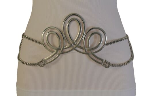Women Silver Metal Chain Hip Waist Fashion Belt Swirl Queen Crown Buckle M L XL