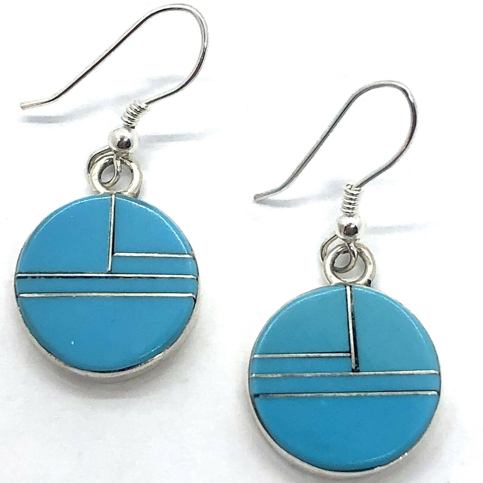 Round Zuni Turquoise Earrings Hook Inlay Sterling… - image 1