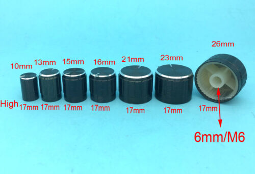 Aluminum Sound Control Rotary Switch Potentiometer Knobs for Volume Cap 6mm