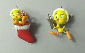 Hallmark-Miniature-Tweety-Bird-Ornaments-Lot-of-2-Miniature-Keepsake-Ornaments