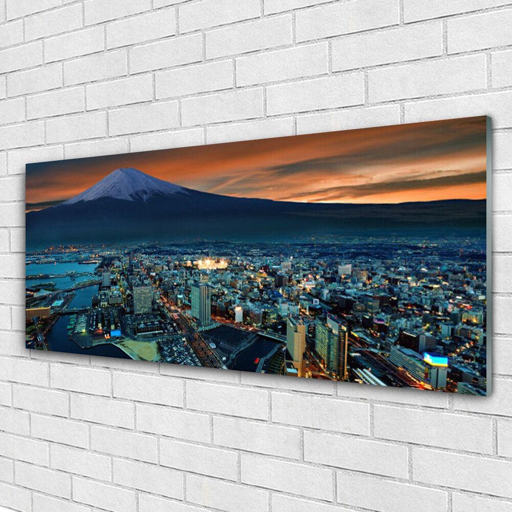 Tableau murale Impression sous verre 125x50 Batiments Ville Montagnes