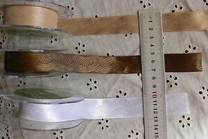 SatinSolid-Patterned-Embroidered-BRAID-Ribbon-3Colours-22mmWide-3Metres-1-7M-BL
