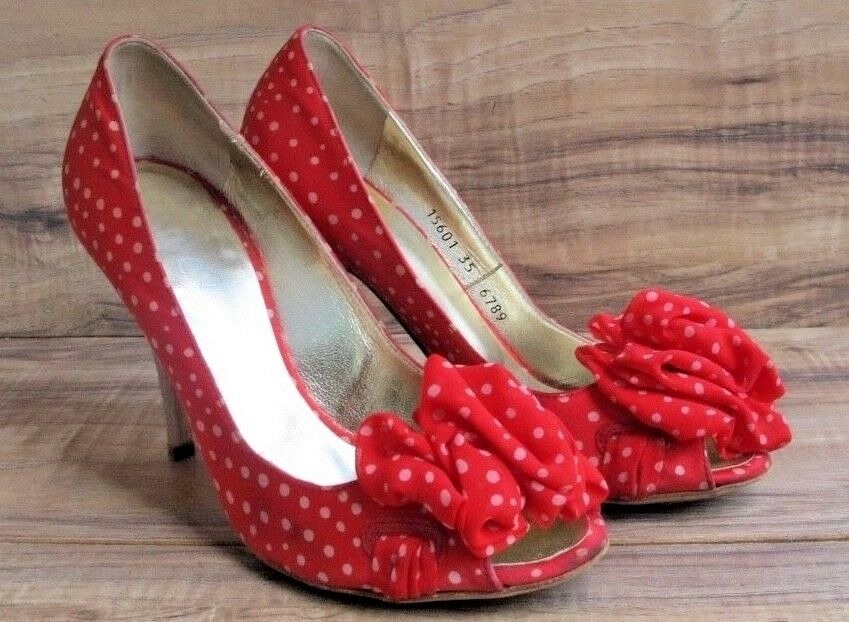 ESCADA Women shoes US 5 EUR 35 SILK Leather Red Heels Polka Dot With Bows - EUC