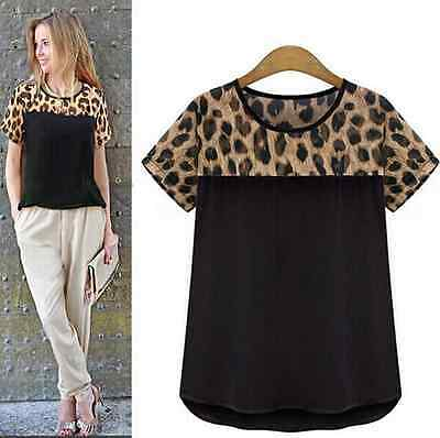 Fashion Ladies Leopard Chiffon Women Top Shirt Blouse T-shirt Size S-XXXL