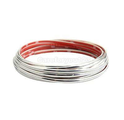 Flexible Car Moulding Line Interior External Decorative Trim Strip 5m Silver