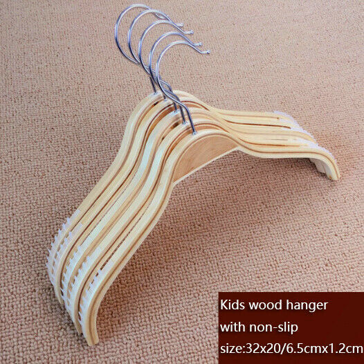 120x Kids Shirt Wooden Hanger Closet Clothes Organizer Non-Slip Dress Top Hanger