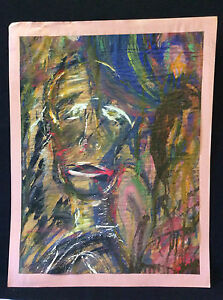 Expressionnisme-visage-expressionniste-gouache-anonyme
