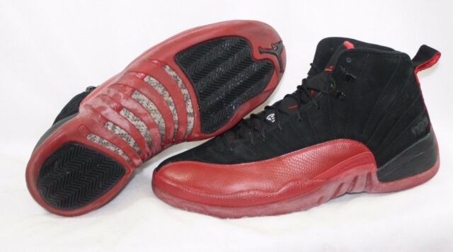 best website 9e825 27dfb Pre-owned Mens Nike Air Jordan Retro 12 Black Red Flu Game Sneakers 130690  065