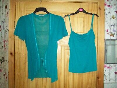*** Guarda *** M&s Aqua Blu Coprispalle/cardigan & Strappy Top Taglia 12 ***-mostra Il Titolo Originale Prestazioni Affidabili
