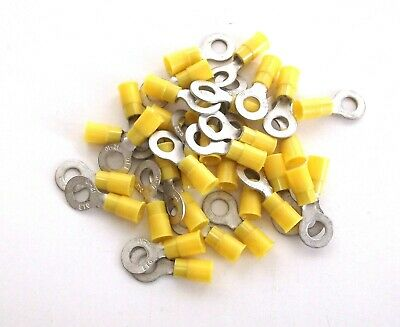 "wire 25 BBT Brand  Yellow 5//16/"" Ring End Terminals for 12-10 ga"