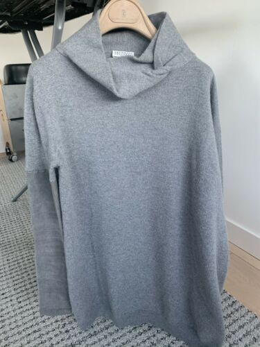 Brunello cucinelli Gray Cashmere Sweater With Sued