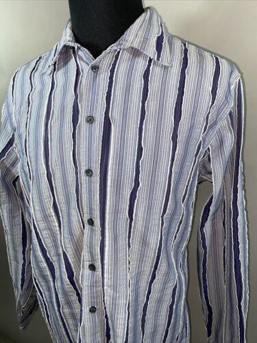 Haupt Mens Sz XL Textured Stripe Button Long Sleev