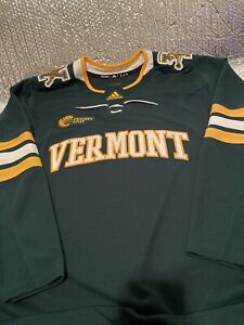 Adidas-Vermont-Catamounts-Hockey-Authentic-Home-Green-Jersey-Size-56