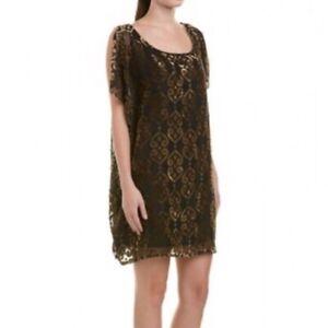 Details About Bb Dakota Womens Black Sheer Velvet Embossed Shift Dress