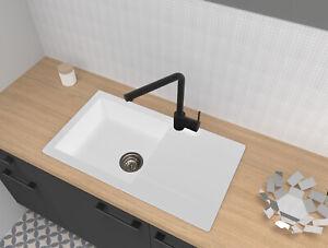 Dettagli su Lavello Incasso Cucina Lavandino Granito Mineralite 78x44  Bianco Respekta
