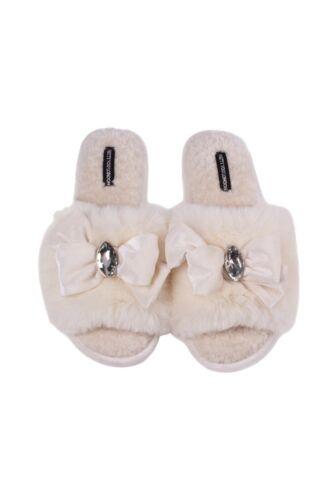 Ladies Womens Slippers Cream Faux Fur Slide On Slippers Sliders /'Darcey/'