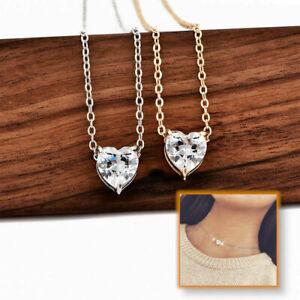 Hot-Dazzling-Heart-Pendant-Gold-Silver-Chocker-Crystal-Rhinestone-Chain-Necklace