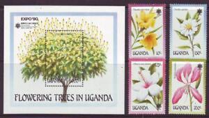 UGANDA-1990-FLOWERING-TREES-SET-4-MINISHEET-MINT-NEVERHINGED