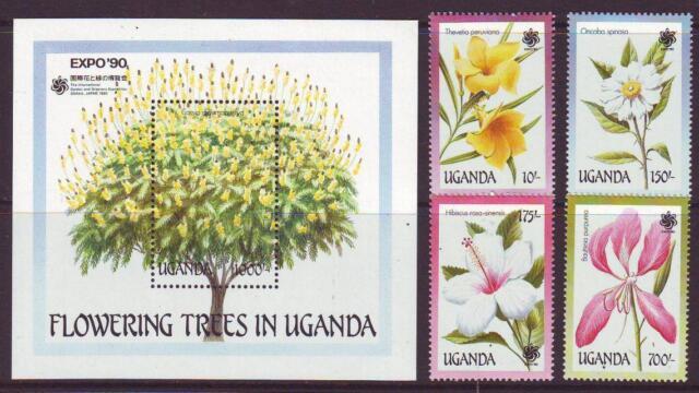 UGANDA 1990 FLOWERING TREES SET 4 + MINISHEET  MINT NEVERHINGED