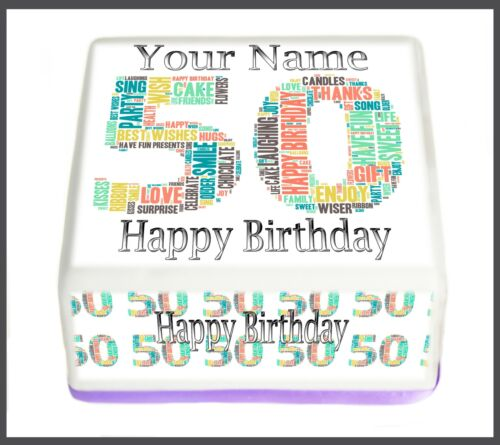 Edible Square Cake Topper 50th Birthday Cake Topper wafer sheet icing sheet.89