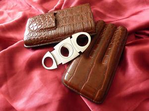 Leder-Halter-3-Roehre-Travel-Cigar-Case-mit-Cutter-braun