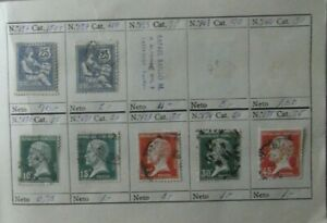 Lote-7-sellos-stamp-France-Republica-usados-antiguos-yvert-127-170-171