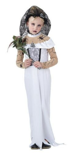 Filles Blanc Mariage Bride Zombie Fantôme Halloween Fancy Dress Costume Outfit New