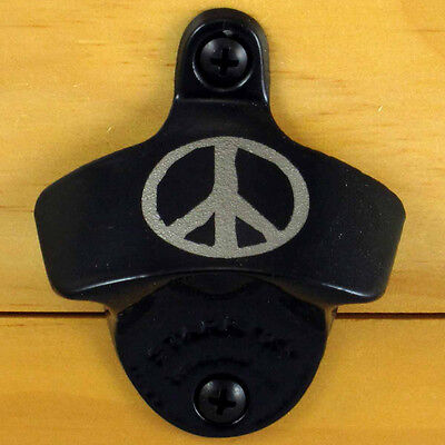 Black PEACE SIGN Starr X Wall Mount Bottle Opener, Powder Coated, Engraved, NEW!
