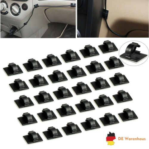 30X AUTO Kabelhalter selbstklebend Kabelklemme Kabelclip Kabel Organiser Set