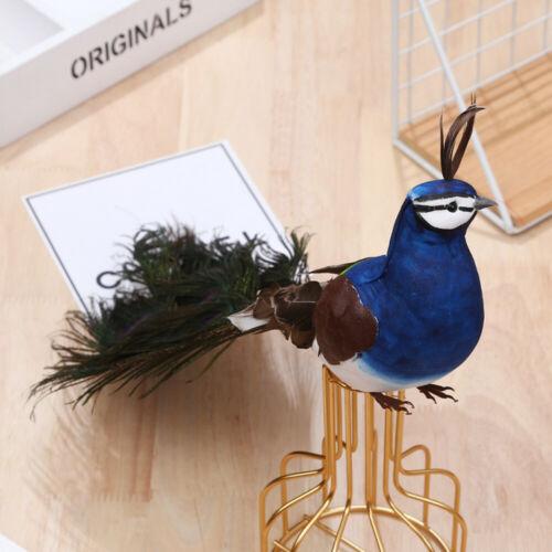 Artificial Peacock Bird Feathered Realistic Garden Home Decor Ornament