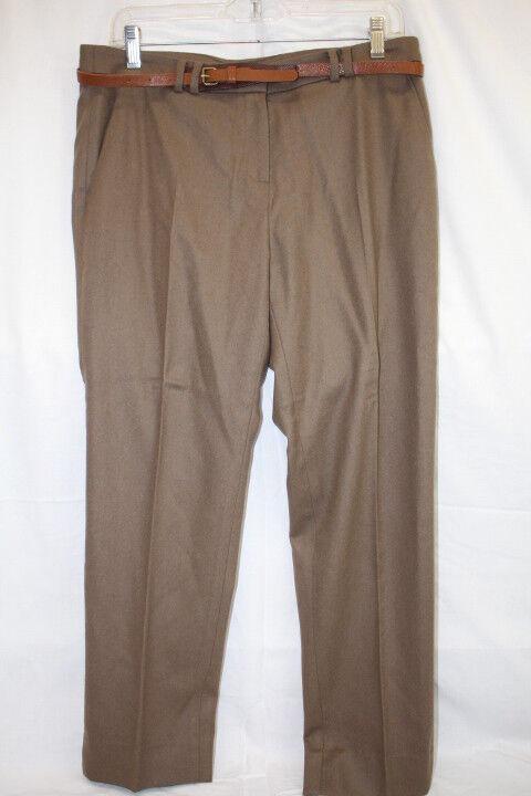 MATIN DE MAI Camel Brown Wool Blend Pleated Dress Pants W Belt Womens, 40 8 (139