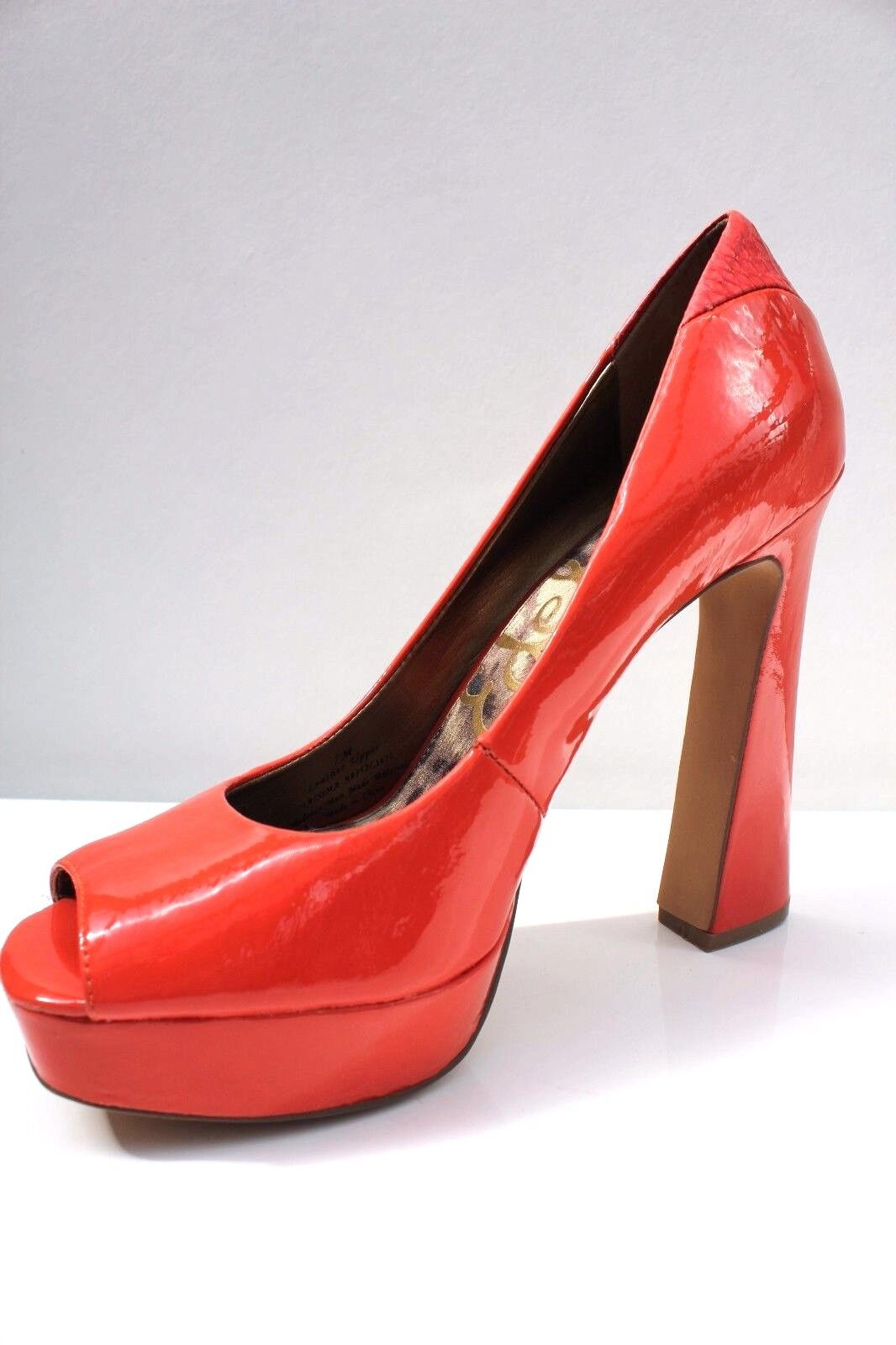 Sam Edelman Orange Platform High Heel schuhe Patent Leather Peep Toe schuhe Heel 5 38 US 7 57dd6b
