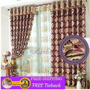 Blockout Red Golden Curtain Bedroom Door Fabric Valance Drapes Sheer ...