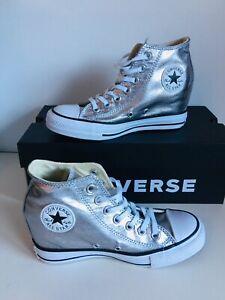 Details zu Converse Chucks ALL STAR MID Silber Keilabsatz Sneaker 555152C gr 37 us 6 schuhe