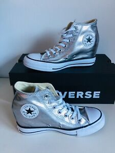 Converse Chucks ALL STAR MID Silber Keilabsatz Sneaker 555152C gr 37 ...