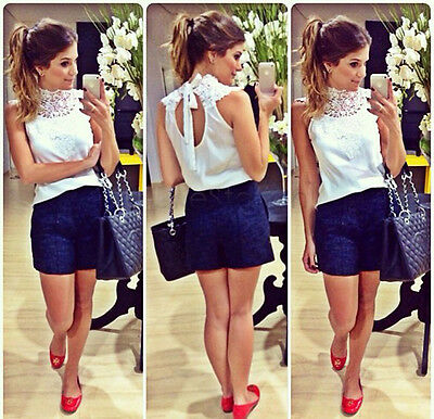 Summer Women Lace Chiffon Blouses Sleeveless Shirts Backless Tops Tank Gayly