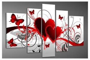 abstract hand paint oil painting canvas art pic home decor red heart