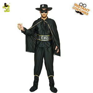 Brave Adult Men Bandit Hero Costume Black Outfit Halloween Party Fancy Dress