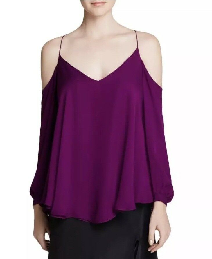 Haute Hippie damen lila Silk V-Neck Open Shoulder Blouse Top M