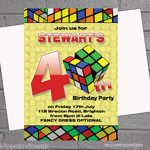 birthday party invitations 30th 40th 50th 80s rubiks cube eighties