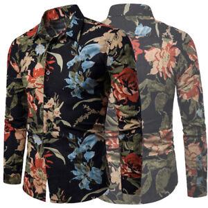 Fashion-Men-039-s-Casual-Dress-Shirts-Mens-Floral-Print-Long-Sleeve-Shirt-Tops-Tee