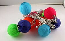 """String of Lights Japanese Chinese 10 Small Lanterns Material Covering 3"""" EUC"""