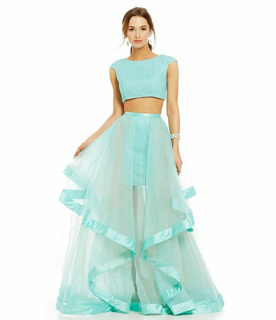 glamour by terani couture Top & skirt sz 4 ballgown prom beaded 2 pieces formal