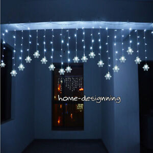 Details About Icicle Snowflake Outdoor Indoor Xmas Curtain Ceiling Fairy Lights String 150 Led