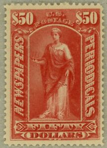 US-Scott-PR124-VF-XF-OG-1895-50-Newspaper-stamp-watermarked-sound